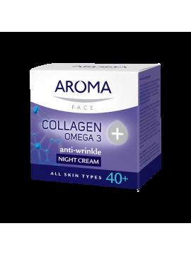Cremă de noapte anti-rid cu colagen și Omega 3 pentru toate tipurile de ten matur 40+